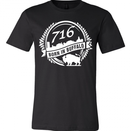 A black T-shirt with the city of Buffalo graphic designed by SB Marketing.