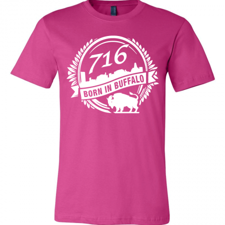 A Pink T-shirt with the city of Buffalo graphic designed by SB Marketing.