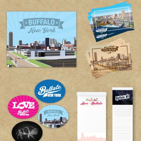 A set of custom posters, postcards, stickers and notepads.