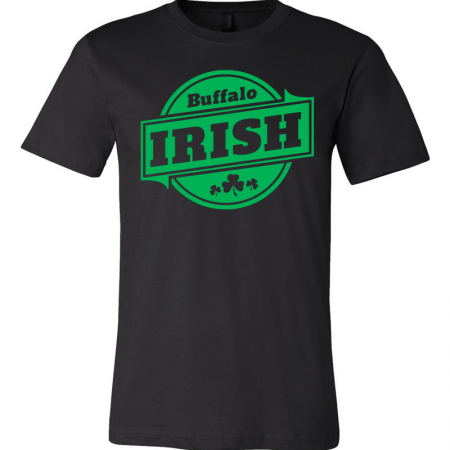 A black T-shirt with green Buffalo Irish graphic.