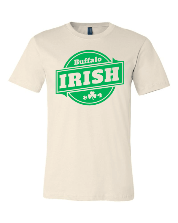 A beige T-shirt with green Buffalo Irish graphic.