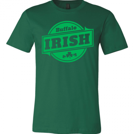 A Green T-shirt with green Buffalo Irish graphic.