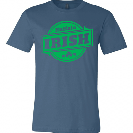 A blue T-shirt with green Buffalo Irish graphic.