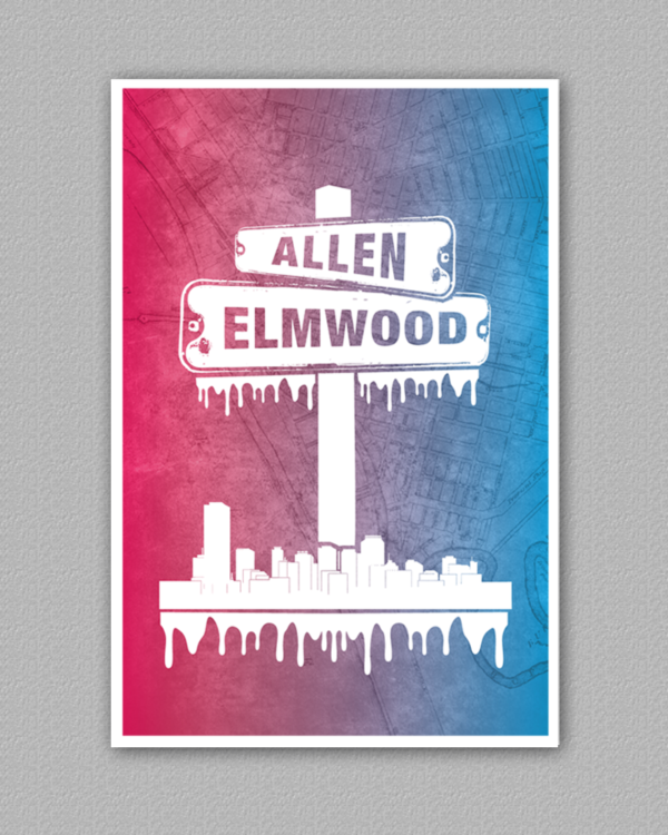 A poster for the allen and elmwood neighborhood in buffalo new york.