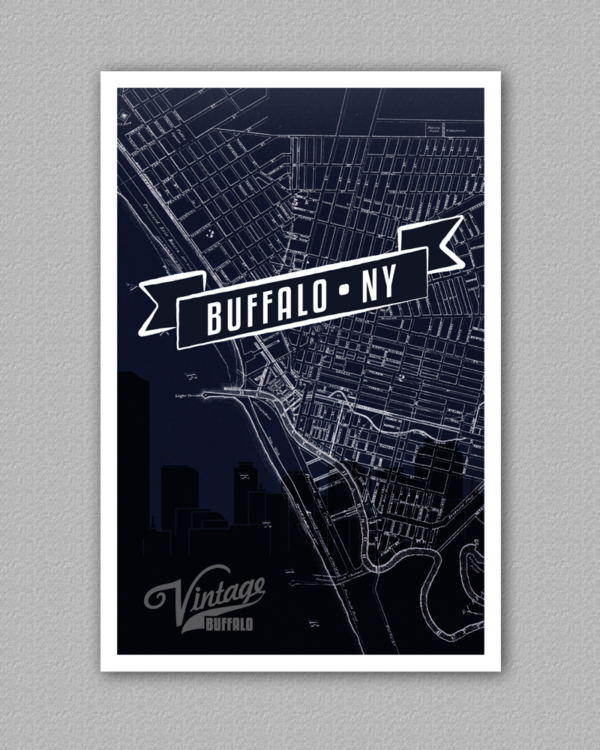A poster of the map of buffalo new york downtown area, with buffalo, ny overlaid on top.