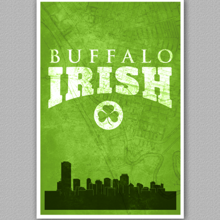 A poster of the buffalo skyline, reading Buffalo Irish.