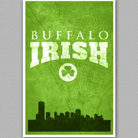 A poster of the buffalo skyline, reading Buffalo Irish.