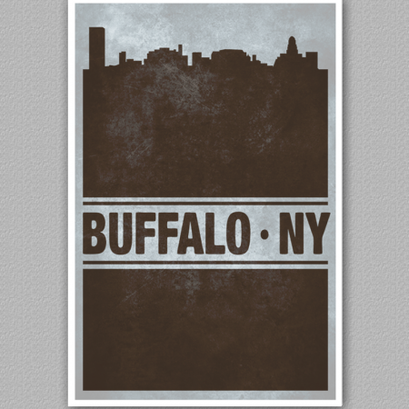 A poster of the buffalo skyline, reading buffalo new york.