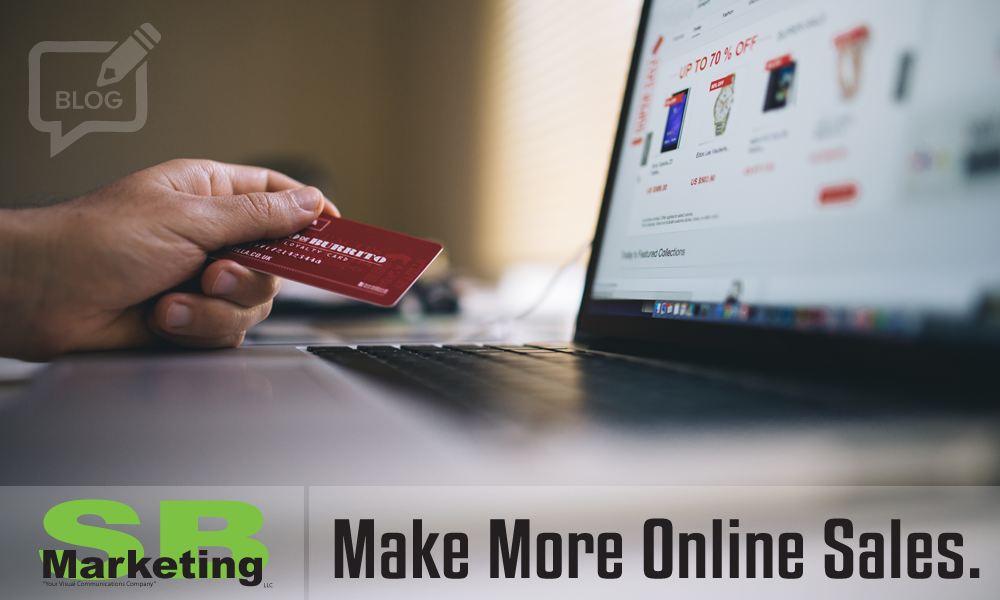 "A photograph of hand holding credit card, while browsing online merchandise, with the SB Marketing logo and the headline ""Make more online sales""."